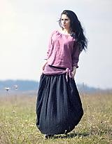 - Maxi sukně z mušelínu - černá puntíčková (M) - 10761216_