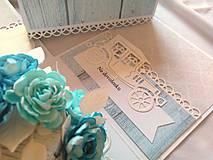 Papiernictvo - Svadobný exploding box Bledomodrý, Gratulačná krabička - 10761166_