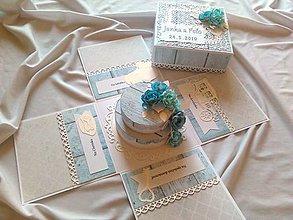 Papiernictvo - Svadobný exploding box Bledomodrý, Gratulačná krabička - 10761163_