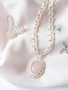 Sady šperkov - Šitý ruženínový set (Ag925) - 10762531_