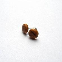 Náušnice - Drevené napichovacie náušnice - olivovníkové vypuklé ďobky - 10761179_