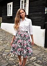 Sukne - Sukně ELIS, květovaný vzor, pro pas 70-72 cm - 10765464_