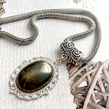 Náhrdelníky - Pyrite & Antique Silver Necklace / Náhrdelník s pyritom v starostriebornom prevedení - 10763534_