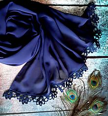 Šály - Noc se ukrývá - temně modrý šifonový šál s krajkou - 10765532_