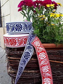 Galantéria - Folk stuha s ružami - 4 cm (modrá) - 10763841_