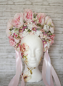 Ozdoby do vlasov - Romantická ružová XXL svadobná parta - 10762919_