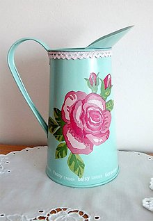 Nádoby - krhlička s ružou - 10763931_