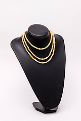 Náhrdelníky - perlový náhrdelník - shell perly (6mm - žltozlatá 47 cm) - 10764208_