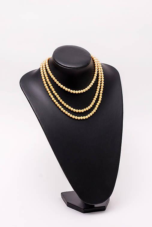 perlový náhrdelník - shell perly (6mm - žltozlatá 47 cm)