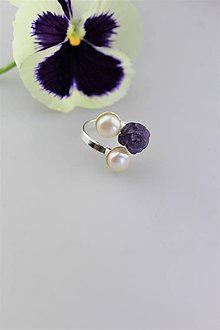 Prstene - ametyst perly prsteň strieborný - 10763092_