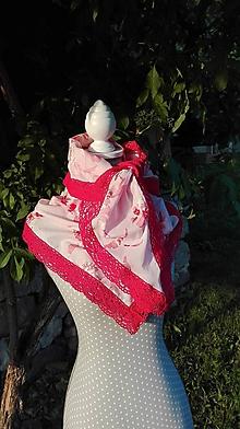 Šatky - Obrovská šatka s kvetmi a výraznou paličkovanou čipkou - 10763016_