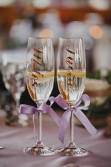 Nádoby - Svadobné poháre s menom zvislo- fialovo zlaté - 10765842_