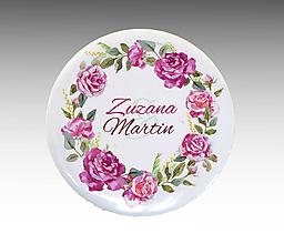 Darčeky pre svadobčanov - Malé PIVONKY Svadobné buttony / odznaky - 10765044_