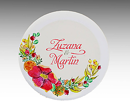 Darčeky pre svadobčanov - Svadobné buttony (odznaky) VENČEK 2 - 10765055_