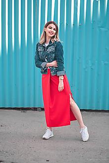 Sukne - Červená sukňa dlhá - 10765341_
