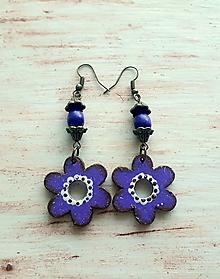 Náušnice - fialové kvietky - 10763542_