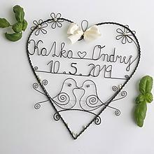 Dekorácie - svadobné srdiečko 25 cm s dátumom a menami (Krémová) - 10768130_