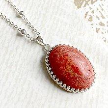 Náhrdelníky - Red Coral & Silver Necklace / Náhrdelník s koralom v striebornom prevedení - 10766373_