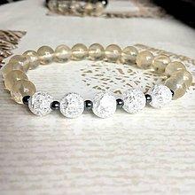 Náramky - Elastic Duo Quartz & Hematite Bracelets / Duo náramky krištáľ, hematit (Citrónový krištáľ, praskaný krištáľ, hematit) - 10768418_