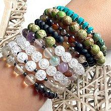 Náramky - Elastic Duo Quartz & Hematite Bracelets / Duo náramky krištáľ, hematit - 10768425_