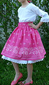 Detské oblečenie - Sukienka Bordúra Folk dievčenská ružová - 10765928_