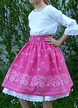 Detské oblečenie - Sukienka Bordúra Folk dievčenská ružová - 10765929_