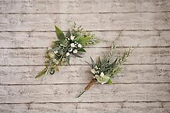 Ozdoby do vlasov - Greenery svadobný set - polvenček a pierko - 10768927_