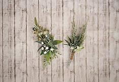 Ozdoby do vlasov - Greenery svadobný set - polvenček a pierko - 10768928_
