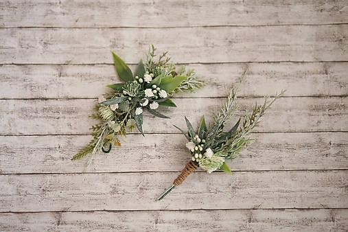 Greenery svadobný set - polvenček a pierko