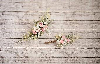 Ozdoby do vlasov - Romantický ružový svadobný set - polvenček a pierko - 10768944_