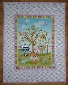 Textil - Detská deka ZVIERATKÁ POD STROMOM (tri varianty) (ružová) - 10767964_