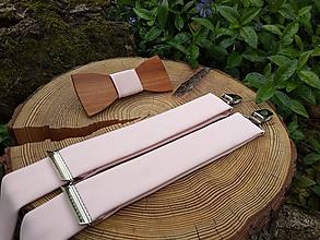 Doplnky - Pánsky drevený motýlik a traky - 10766703_