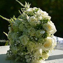 Dekorácie - Biela svadobná kytica - 10768869_