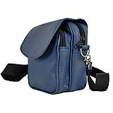 Tašky - Crossbody taška cez plece, impregnovaný textil+koža, modrá farba - 10768056_