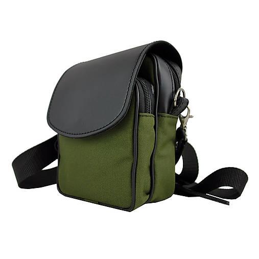 Crossbody taška cez plece, impregnovaný textil+koža, zelená farba