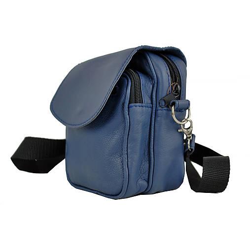Crossbody taška cez plece, impregnovaný textil+koža, modrá farba