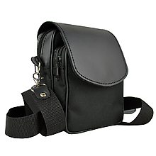 Tašky - Crossbody taška cez plece, impregnovaný textil+koža, čierna farba - 10768027_