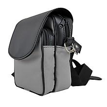 Tašky - Crossbody taška cez plece, impregnovaný textil+koža, šedá farba - 10768034_