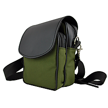 Tašky - Crossbody taška cez plece, impregnovaný textil+koža, zelená farba - 10768047_
