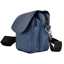 Tašky - Crossbody taška cez plece, prírodná koža, modrá farba - 10768056_