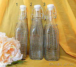 Nádoby - Opletená drôtom sklenená fľaša - 10768307_