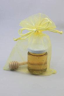 Darčeky pre svadobčanov - Svadobný med v organzovom vrecku - 10768686_