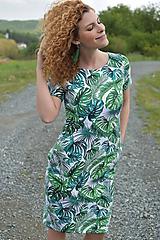 Šaty basic vreckáče - Zelené listy  - NEKOJO VARIANTA