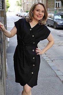 Šaty - Košeľové šaty Liana black - 10765971_