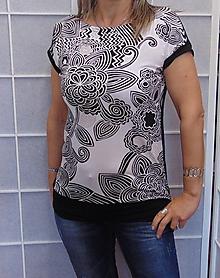 Tričká - Tričko černo-bílý vzor XS - XXXL - 10767794_