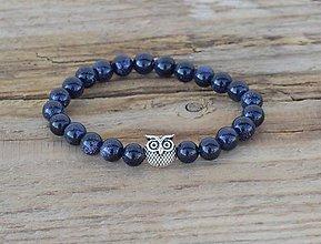 Náramky - náramok - modrý pieskovec, sova - 10767211_