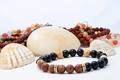 Náramky - Náramok Slnečný kameň a Ónyx - Zlatý - 10768508_