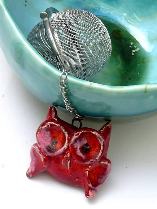 sitko na čaj sova rôzne farby  (Červená)