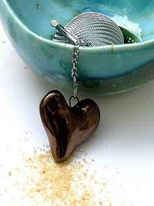 Nádoby - sitko na čaj červené srdce  (Meď/Bronz) - 10767563_