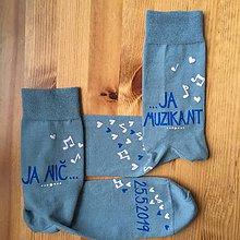"""Obuv - Maľované ponožky pre ženícha s nápisom: """"Ja nič.../ ...ja muzikant + dátum svadby"""" - 10767222_"""